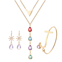 3UM Birthstone Jewelry Sets Colorful Glass Gem Bezel Set Snowflake Earring Large Letter Bangle Trilateral Multi Layer Necklace(China)