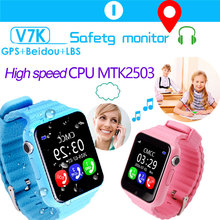 "Children smart watch GPS LBS tracker Security Anti-lost Waterproof 1.54"" glass Screen With Camera Kids SOS MTK2503 CPU"