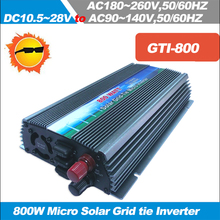 800W MPPT Grid Tie Solar Inverter, On Grid Inverter 0.8KW Micro Grid Tied Inverter, DC10.5~28V to AC110/220V,50/60HZ(China)