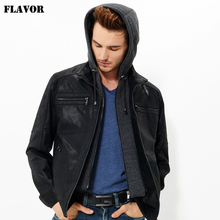 2016 Men's real leather jacket pigskin motorcycle Genuine Leather jacket men hooded leather coat hat double closure removable(China)