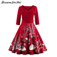 Dreamjieshi Autumn Plus size 4XL Women Vintage dress swan print robe 50s 60s 3/4 sleeve hepburn female Ball Gown Party Dresses