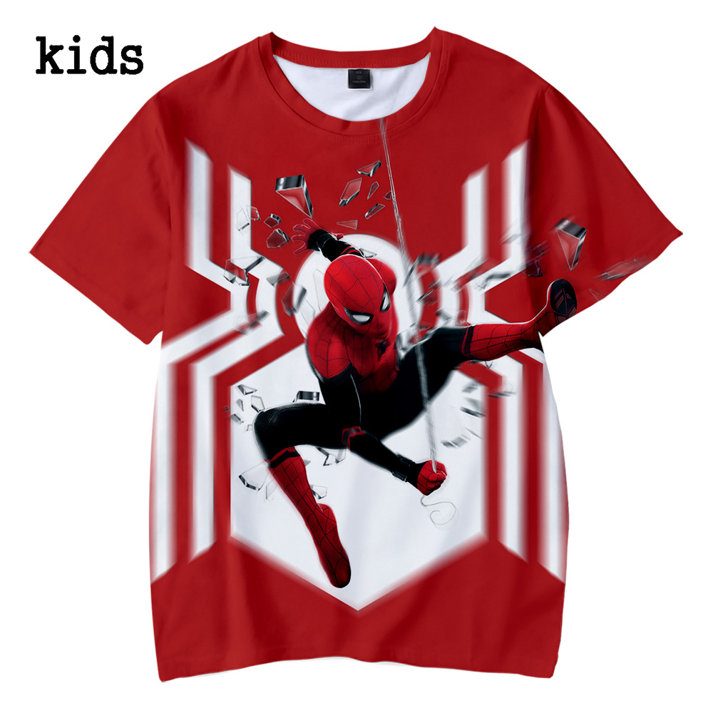 Spider man far from home Kids Boys Summer Spider man tshirt Kids 3d Print Tshirt For Boys Girls Children Clothes 4-12 Year