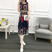 Vintage dress 2017 summer floral print elegant style festive dress in patchwork style sleeveless luxury vintage dress(China)