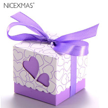Novelty Double Hollow Love Heart Design Wedding Favor Candy Boxes Gift Boxes with Ribbons(China)