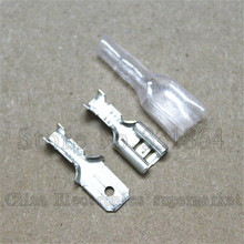 6.3mm solder terminals+ plug spring +transparent protective sleeve ,100 sets 300 pcs Free shipping