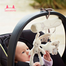 OnnPnnQ 2017 Rabbit baby hanging bed safety seat plush toy Hand Bell Multifunctional Plush Toy Stroller Mobile Baby Toys Gifts(China)