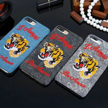 Luxury brand Embroidered Tiger Hard Case For apple iphone 6 6s 7 plus phone shell for iphone 7 7plus back cover 8 8 plus case(China)