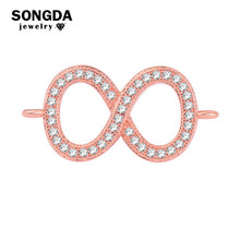 SONGDA Copper Infinity Symbol Connectors for Jewelry Making Micro Pave Clear Crystal CZ Charms Connector Fit DIY Bracelet PL0611(China)
