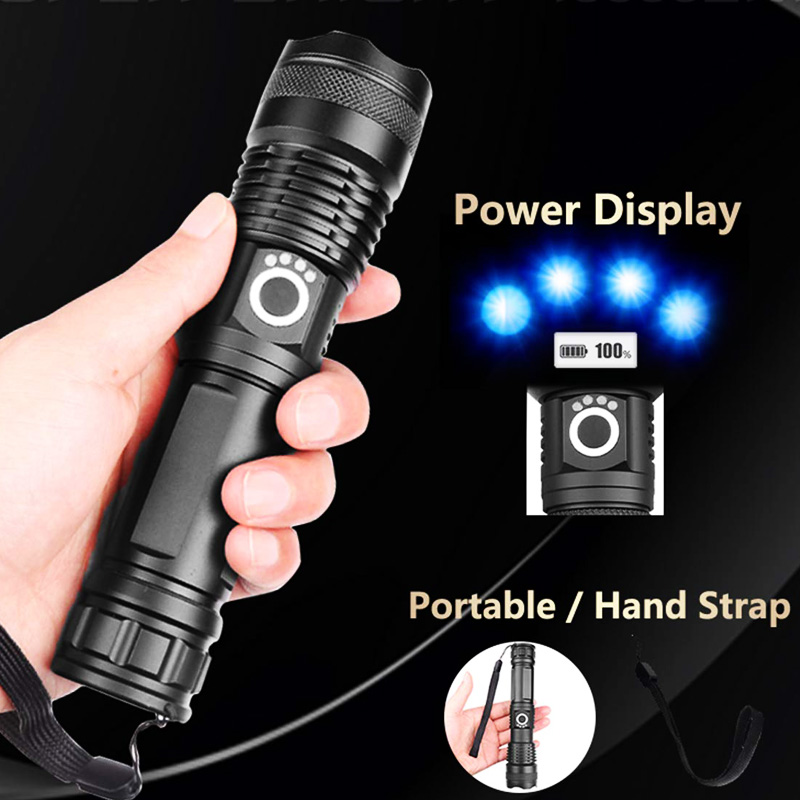 Light - XHP90 LED Flashlight Zoom USB Rechargeable Power Display Powerful Torch 18650 Handheld Light