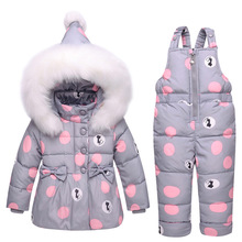 Buy Winter Newest Children Girls Clothing Sets Winter hooded Duck Jacket + Trousers Waterproof Snowsuit Warm Kids Baby Clothes for $56.74 in AliExpress store