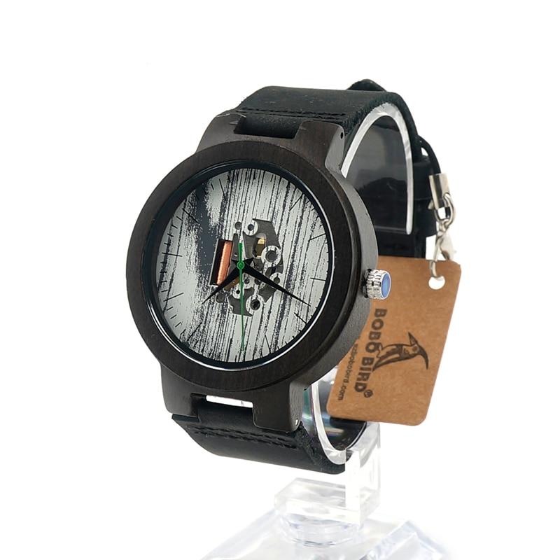 BOBO BIRD H14 White Paint Dial Green Second Black Wood Watches Movement Exposed Cool Wooden Wristwatch saat erkekler<br><br>Aliexpress