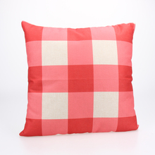 Modern Simple White Red Grid Check Geometry Soft Linen Throw Pillow Cases Home Decorative Square Pillowcover 43 X 43cm(China)