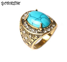 Good quality jewelry retro rhinestone turquoise rings for women hot new unisex stone ring for man alloy fj256 YOUREM