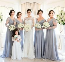 2017 Formal Plus Size Cheap Bridesmaid Dresses Long Sleeve Chiffon Lace Maid of Honor Gowns For Wedding Party B122