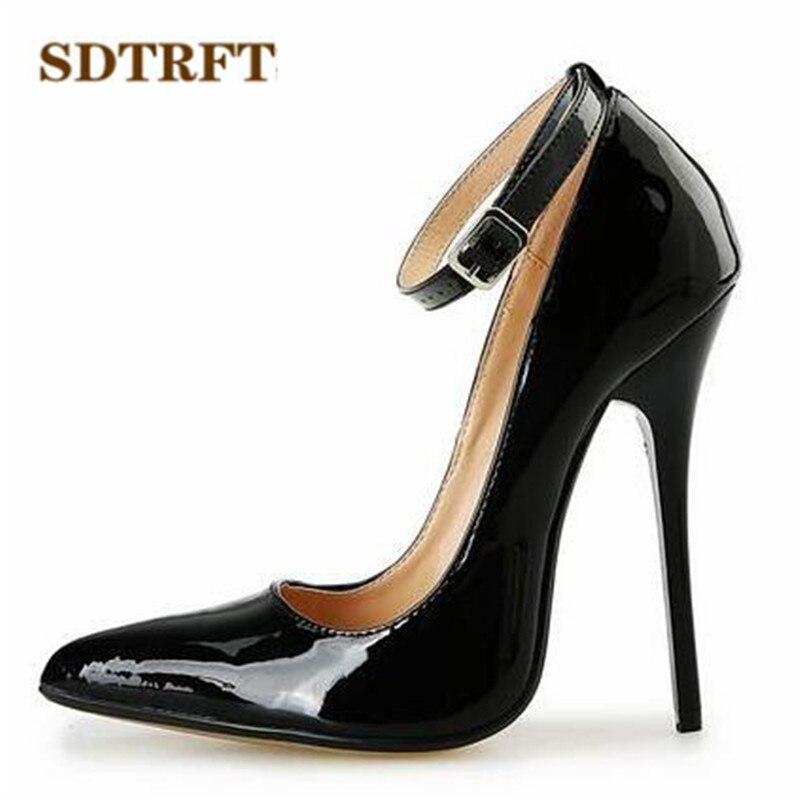 SDTRFT Plus size:US9-16 17 18 Gold Bottoms Patent Leather shoes Red Ankle Strap Pointed Toe Wedding pumps Crossdresser Stilettos<br>