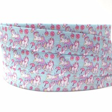 "Buy 10 yards Cute Unicorn Print Fold Elastic Wholesale 5/8"" Green Hair Tie FOE Ribbon Webbing DIY Headwear Hair Accessories for $2.94 in AliExpress store"