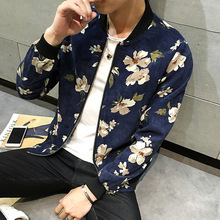 Mens Bomber Jackets New Spring Fashion Print Baseball Jacket Collarless Coat Slim Outerwear Big Size XXXXXL Uniform Y2252(China)