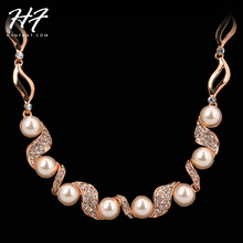 Top Quality N255 Imitation Pearl Wedding Necklace Rose Gold Color Fashion Jewellery Nickel Free Pendant Crystal