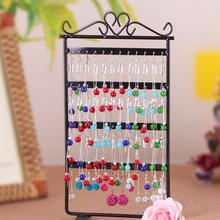 48 Hole Earrings Ear Studs Display Rack Metal Jewelry Holder Stand Showcase pink 295*160mm for Retail Environment or Within the(China)