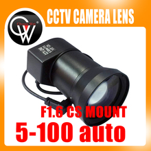 "New 5-100mm CS F1.6 Lens 1/3"" Varifocal Auto Iris zoom lens for industry Security CCTV Camera(China)"