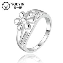 2016 wholesale top quality reloj mujer silver plated Jewelry retail flower smart Engagement ring aneiss