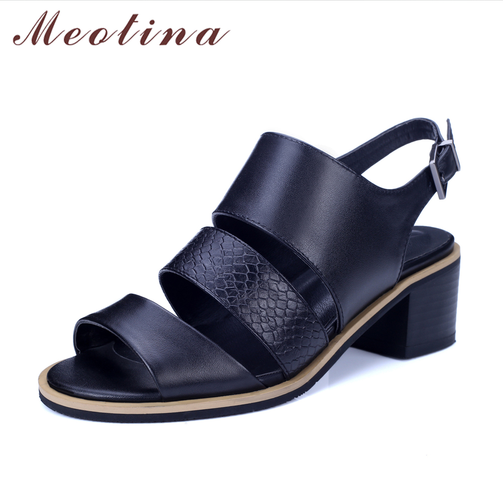 Meotina Women Sandals Genuine Leather Shoes Thick Heel Sandals Open Toe Real Leather Shoes Gladiator Sandals Rome Ladies Heels<br>