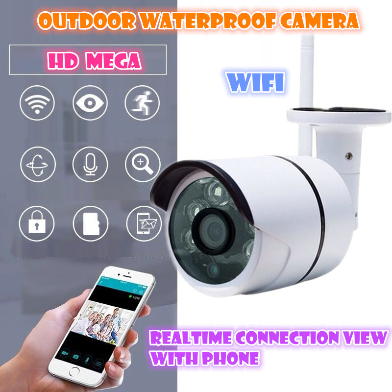 Wireless IP Camera 720P HD wifi SD card ourdoor waterproof  Mega P2P Alarm Onvif FREE APP Network IR-CUT Recording<br>