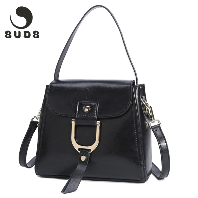 SUDS Brand Casual Genuine Leather Ladies Shoulder Bags Fashion Designe Women Real Leather Crossbody Handbags Zipper 2017<br>