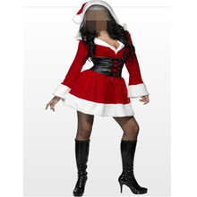 Sexy Adult Women Christmas Costume, Red Halloween Fancy Sweetheart Miss Santa Dress