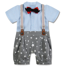 Baby Boy Gentleman Romper Tuxedo Short Sleeves Suits Clothes Set with Strap and Bow Tie