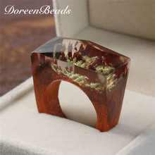 DoreenBeads 2017 Original Resin Ring Men Jewelry Secret Wood Fashion Vintage Magic Forest Seaweed Rectangle Rings For Women Gift