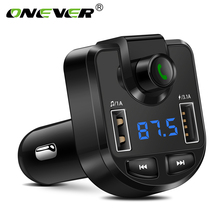Onever FM Transmitter Wireless Bluetooth MP3 Player Car 3.1A Dual USB Charger for iPhone GPS FM Modulator with Voltage Detector(China)