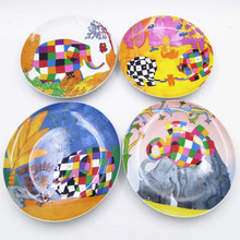 Ceramic Abstract Painting Flat plate Kids Colorful Tableware Set Cartoon Animals Dish Dinner Plate christmas gift 4pcs/Set(China)