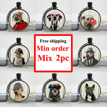 2015 New Funny Dog Necklace Whimsical Dog Art Jewelry Fun Unique Cool Gift Pendant Glass Cabochon HZ1(China)