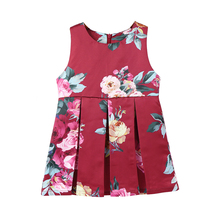 2-6Y Kids Roses Princess Dress Children's O-neck Sleeveless Clothing Baby Girl Vintage Flower Clothes Birthday Party Dresses