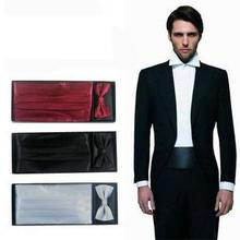 men's Cummerbunds hanky pocket square solid bowtie neck tie set Sash Belts gift box ceremonial belt
