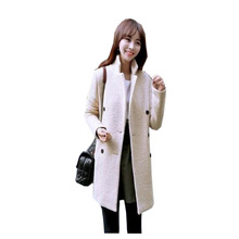 Burderry Worsted Button Regular Top Fashion Trench Coat For Women 2017 New Korean Winter Cloth Warm Double-breasted Full X6