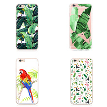 Palm Tree Leaves birds Tropic Summer Floral Fashion Hard plastic Printed Phone Case Cover For Iphone 6 6S 6SPlus 7 7Plus 5 5S SE