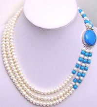 SALE 3 Strands White freshwater Pearl neckalce with Big Blue Clasp-5200(China)