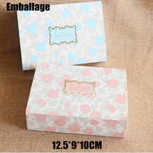 "50pcs/lot Rose Floral Mooncake Baking Pink/Blue Box ""Especially for you""Packaging Valentine Chocolate Paper Box Cake Box PP558(China)"