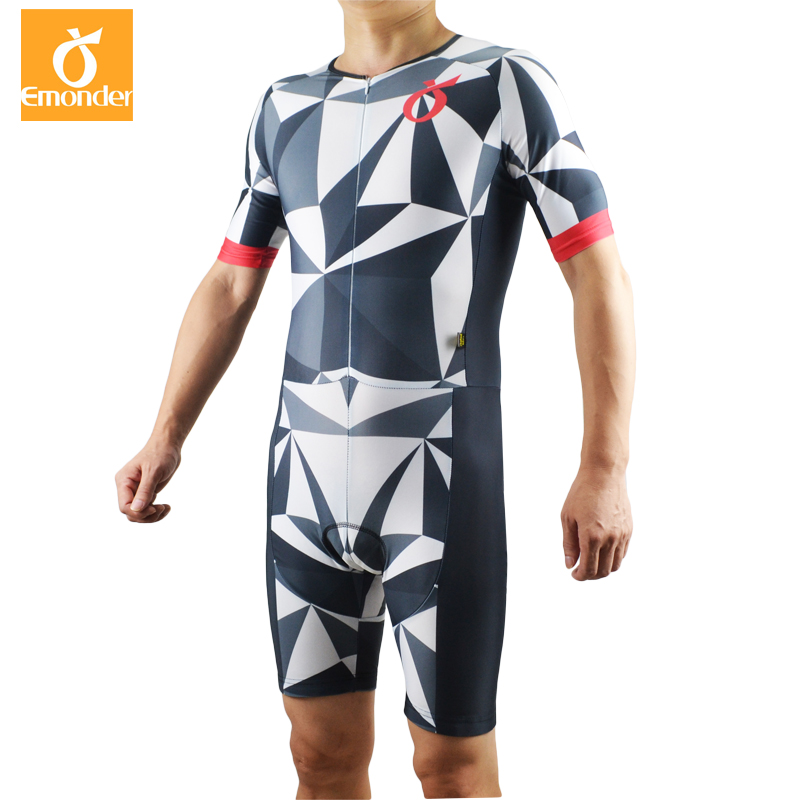 EMONDER Hot Summer cycling jersey Short Sleeve Cycling Skinsuit Unisex Triathlon invisible zipper tights conjoined cycling jumps<br>