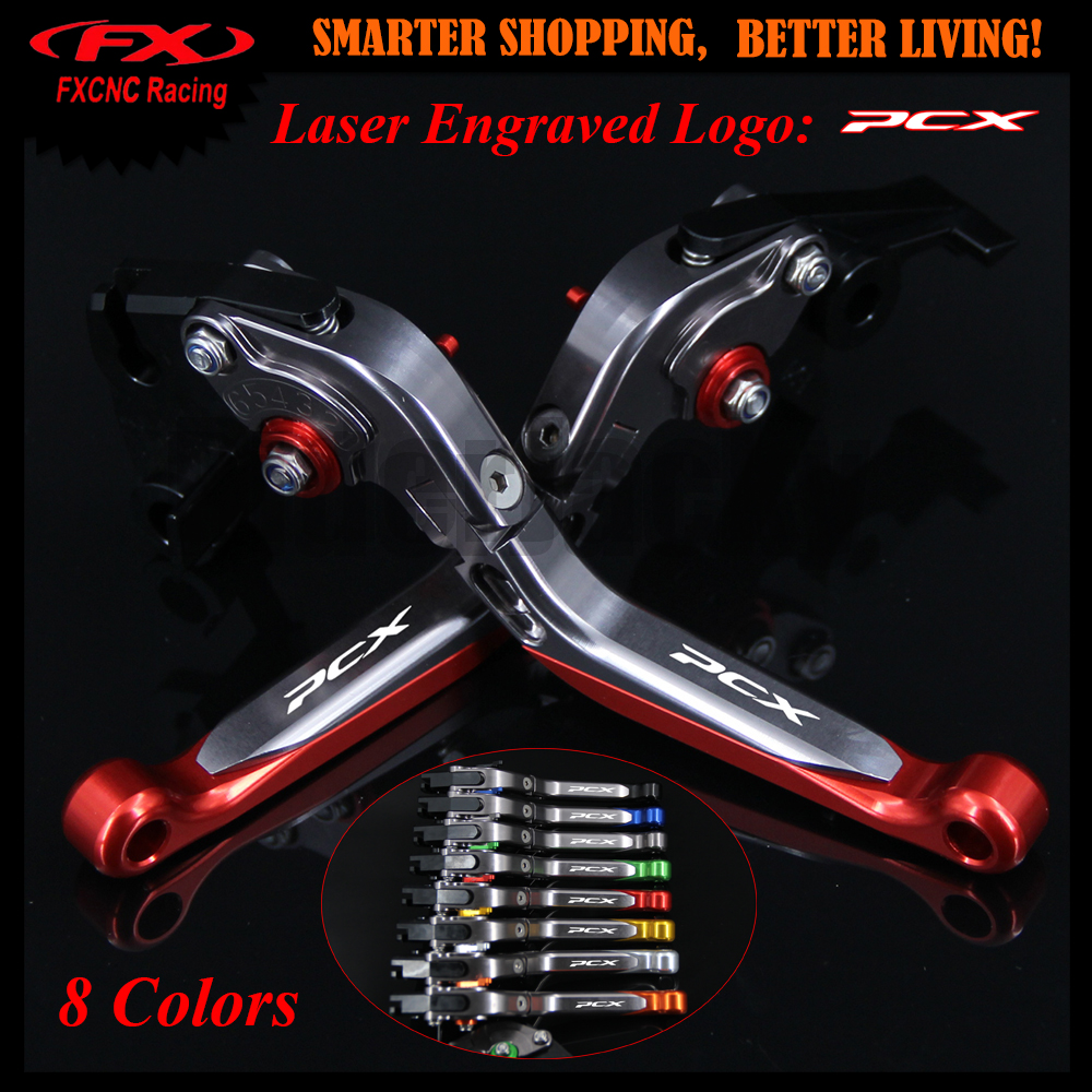 Logo Red Motorcycle CNC Adjustable Brake Clutch Levers For Honda PCX 125 150 PCX125 PCX 150 2010-2017 2013 2014 2015 All years<br>