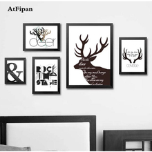 AtFipan Unframed Deer Antlers Black And White Oil Picture On Canvas Printings Drawing Home Posters Print Printing Drop Shipping(China)