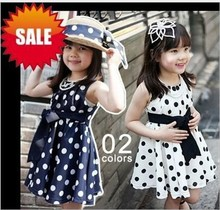 free shipping wholesale price dot bow sleeveless summer baby girl princess dresses 3~8age navy/white children clothing(China)