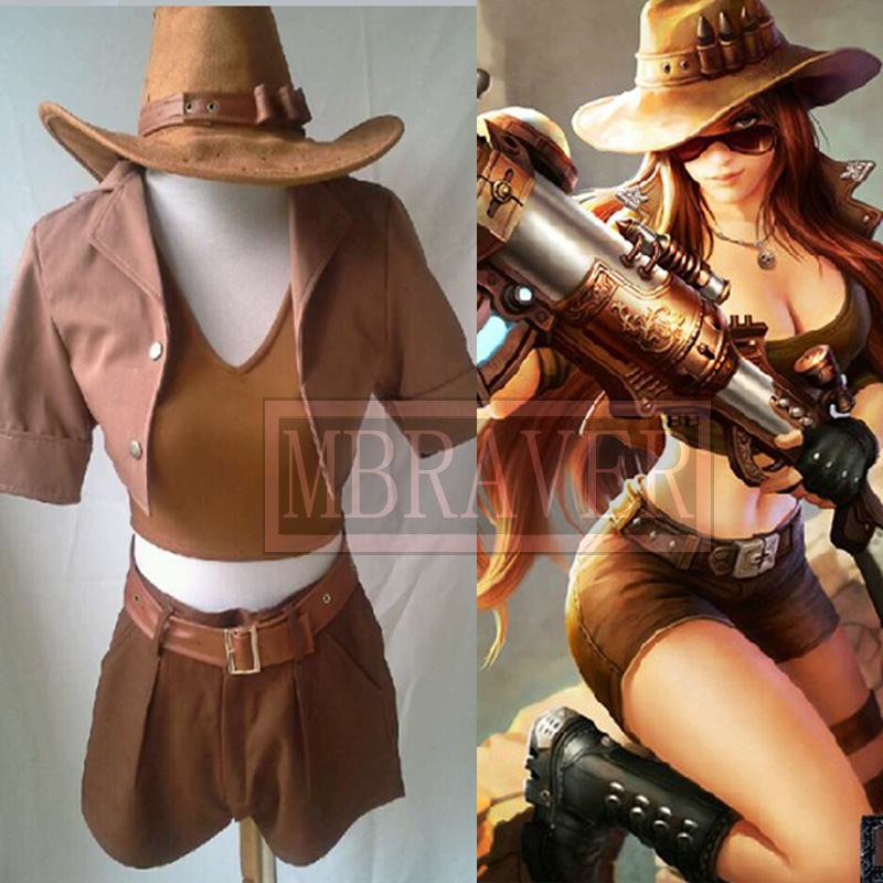LOL Tomb Raider Caitlyn Cosplay Costumes Uniform Custom Made Any Size