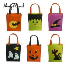 6pcs Mixed Style Halloween Party Candy Bags Trick or Treat Tote Bags Carrier Bags with Handle Gift Favors