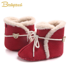 New Winter Baby Boots for Christmas Plush Lining Warm Infant Snow Boots Cotton Soft Baby Shoes 1 Pair