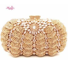 New Brand Dinner Bag Fashion Handbags Evening Diamonds Women Wallets Wedding Crystal Purses Party Bag Gifts Pumpkin Design Lady