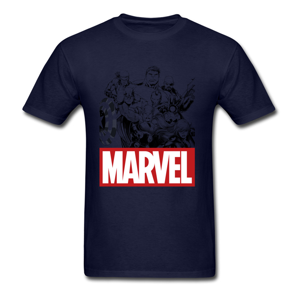 Newest Male Top T-shirts Crew Neck Short Sleeve 100% Cotton Star Wars Marvel Heroes Logo Tops & Tees Print Tops & Tees Marvel Heroes Logo navy