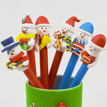 New 5pc Christmas Snowman Soft Pottery Cartoon Santa Claus Christmas Crutch Style Ballpoint Pen Office Learning Supplies